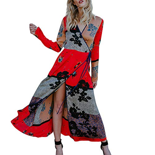 URSING Damen Langarm Kleid Bandage Schal Retro Drucken Kimono Cardigan Cover Up Beachwear Strandkleid Strandponcho Strandtunika Elegantes Langes Maxikleid Blusenkleid (rot,M)