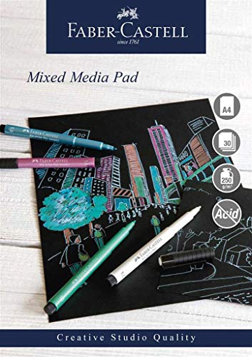 Faber-Castell Creative Studio A4 Mixed Media Spiral Bound Pad - Black Paper - 250gsm