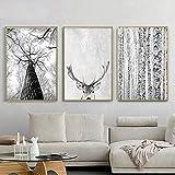 Chaoaihekele Mur Scandinave Moderne Art Gris Arbre Blanc Peinture Sur Toile De Cerf Animaux Affiches Et Impressions Pour Salon Décoration Sans Cadre 50X70Cmx3Pcs
