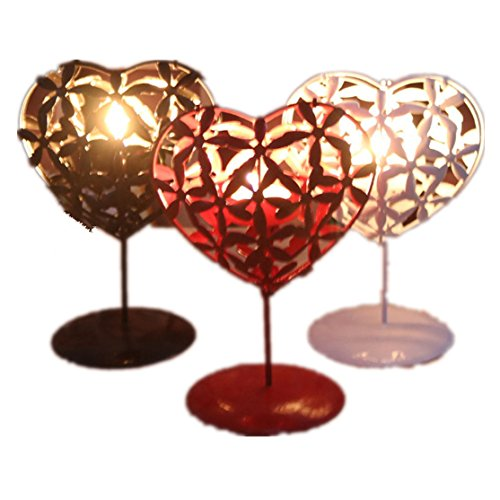 Loveso Home Schmuck Valentinstag Geschenk - Shaped Hollowed Iron Stencil Kerzenhalter (11.5*3*17cm, Rot) (Drei Ärmel Baumwolle Top Punkte 3/4)