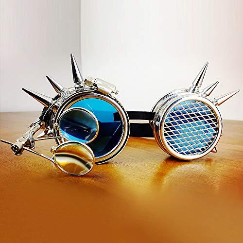 Yiph-Sunglass Sonnenbrillen Mode Rivet Steampunk Windproof Mirror Vintage mittelalterliche Linsen Brille Brille in Blauer Farbe