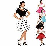 Rockabilly Outfit Tellerrock und Halstuch weiß-schwarz gepunkteter Petticoat Swing Rock polkadotted 60er Jahre Party Karnevalskostüm