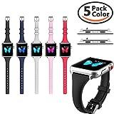 Für Apple Watch Armband 38mm Kppto, ultra-dünnes Silikon Apple Watch Armband Ersatz Sportarmband für iWatch Serie 3 2 1 S / M M / L Größe 38 / 42mm, Fünf-in-Eins-Paket
