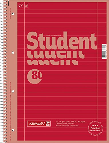 Brunnen 1067927123 Notizblock / Collegeblock Student Colour Code (A4 liniert, Lineatur 27, 90 g/m², 80 Blatt) rot