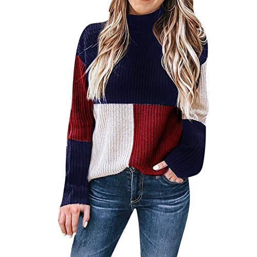 iHENGH Neujahrs Karnevalsaktion Damen Herbst Winter Bequem Lässig Mode Frauen Colorblock Ständer Langarm Strickpullover Pullover Top Bluse
