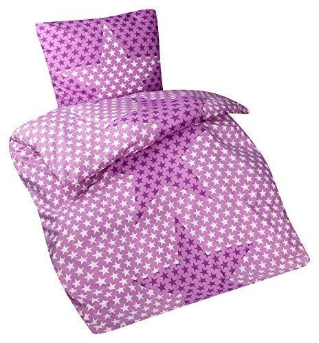 Aminata Kids Kinder-Bettwäsche-Set 135-x-200 cm Sterne Stern-Motiv Star lila violett Mikrofaser für Allergiker