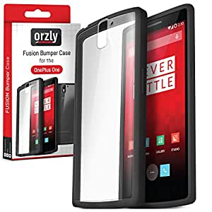 Orzly - FUSION Bumper Case for OnePlus ONE - Protective Hard Skin TPU Phone Cover with Solid BLACK Rim and Built-In Full Transparent Back - Designed by Orzly exclusively for use with the ONE PLUS ONE SmartPhone (Alias: Flagship Model of Smart Phone named ONE Released by ONE PLUS / New 2014 Release / Original Premier Launch Version / ONE PLUS ONE / OPO / etc.) - Fits ALL Models and Versions from 2014 Original Version and onwards - Frame Shade = CHARCOAL BLACK
