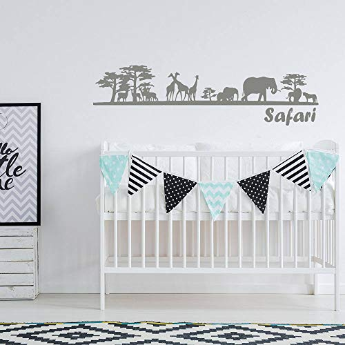 Safari Nursery Wall Decal. Nature Wall Decal. Wall Vinyl sticker Nursery. Zoo Wall Decor. African Nursery Decor. Giraffe Elephant Decal x106 Easy to Apply and Removable Easy to Apply and Removable