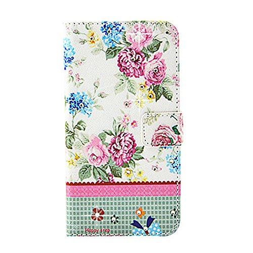PowerQ L Bling Rhinestone bunte Muster Holster Serie Hülle Case für Iphone6Plus (5.5 Inch) IPhone 6 Plus 6S IPhone6S PU-Kasten-Beutel mit Glitter-Diamant-Muster-Druck Crystall Druckzeichnung Geldbörse Grün-rosa Blüte