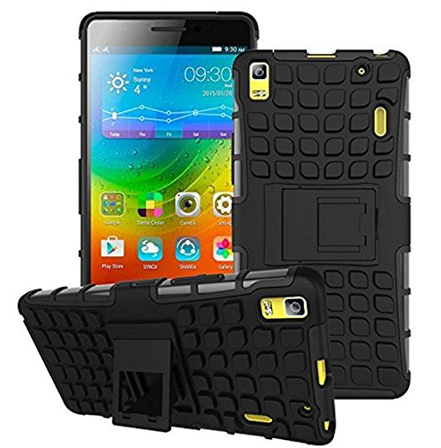 Febelo Kickstand Armor Dual Protection Back Cover Case For Lenovo K3 Note/ Lenovo A7000 - Black Color