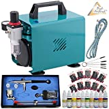 Profi-AirBrush Set Kompressor Ultimate Nail Set II - Kit mit sehr leisem Airbrush Kompressor/Airbrush-Pistole Double-Action inkl. 3 Düsen und Druckluftschlauch, mit 10x10ml Airbrush-Farben Set