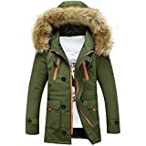 SEWORLD Herren Herbst Winter Sport Charm Herren Casual Frauen Slim Fit Beiläufige Warme Stand Unisex Outdoor Fell Wolle Fleece Winter Lange Kapuze Mantel Jacke(Grün,XL)