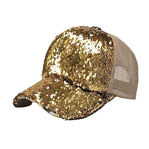 Cebbay Sombreros Mujer Sombrero Casual de Malla con Lentejuelas Hip Hop  Gorras de béisbol 8436047da15