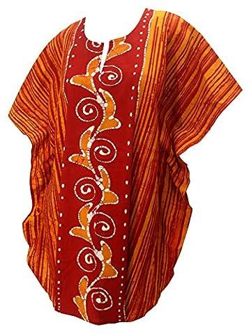 La Leela 100% Baumwolle Batik wirbeln 5 in 1 caribbean Badeanzug Badebekleidung Bikini Strandparty verschleiern Nachtzeug beiläufiges Kleid Tunika Top-Nachtkleid kurz Frauen plus Kimono Orange
