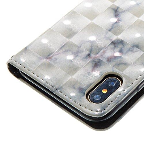 Custodia 3D Modello Per iPhone X, Asnlove Bling PU Pelle Caso Funzione Portafoglio Shell Stereogram Motif di Colore Cassa Antiurto Flip Case Bumper Glitter Brillante Cover Per iPhone X - Colore 7 Colore-6