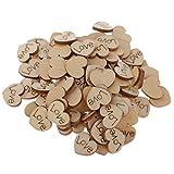 Fenteer 100 pcs Holzscheiben Tischdekoration Holz Deko Holzherzen Basteln Weihnachtsdeko Natürliche