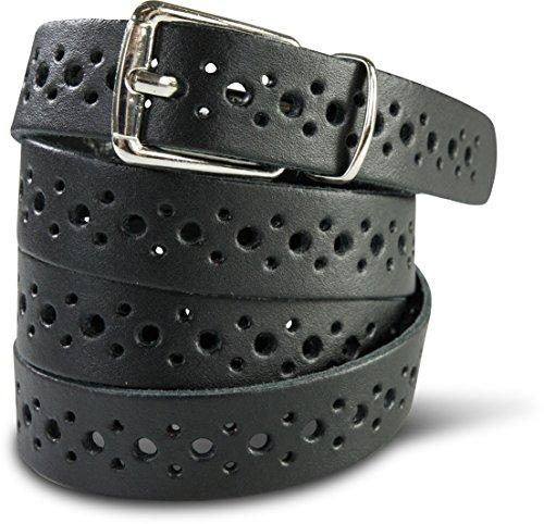 SCAMODA Damengürtel aus Echtleder mit Lochmuster ca.2,0cm breit, echtes Leder - verschiedene Farben und Größen (85, Schwarz)
