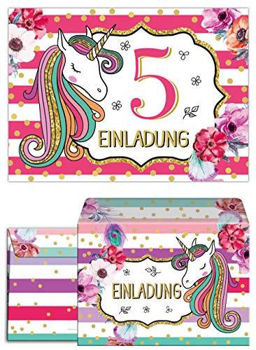 Junaversum 12 Einladungskarten incl. 12 Umschläge zum 5. Kindergeburtstag Mädchen Einhorn Unicorn Einladungen zum fünften Geburtstag fünfte