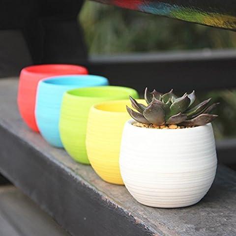 Mkono bunt rund Kunststoff Pflanze Blumentöpfe Home Office Decor Übertopf (unterschiedliche Farben–5PACK)–S, Blue/Green/White/Yellow, m