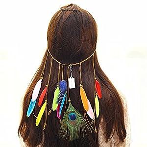 EXQULEG Pfauenfeder Haarband Kopfschmuck Hippie Kopfkette Böhmisches Haarkranz Stirnband für Frauen Mädchen
