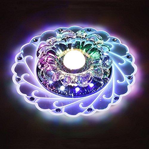 LED Kristall Deckenleuchte Farbwechsel Crystal Decken Pendent Lampen Einbauleuchten Kronleuchter Für Flur Schlafzimmer Arbeitszimmer/Büro Esszimmer Korridore Foyer Wohnzimmer Balkon,Multicolor-Srew