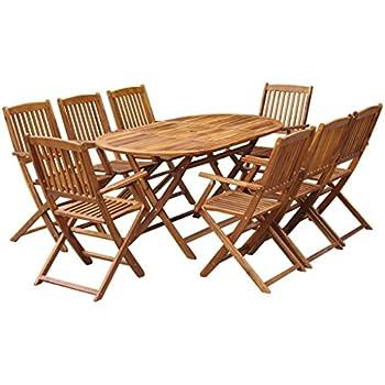 vidaXL Mobilier de Jardin 9 pcs Bois d\'Acacia Massif Salon de Jardin ...