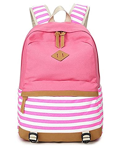 Minetom Girls Canvas Backpack Fashion Lightweight Casual Daypack Laptop Pc School Bag For Teenager Pink
