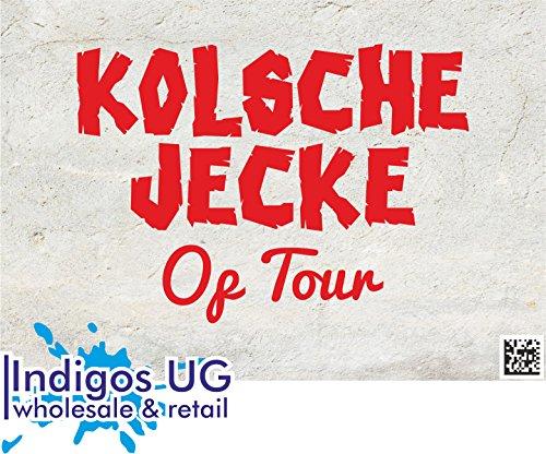 Preisvergleich Produktbild INDIGOS UG Aufkleber Autoaufkleber - JDM Die Cut - Fasching - Kölsche Jecke Kölner Dom op Tour Köln Design - 140X100mm rot Auto Laptop Tuning Sticker Heckscheibe LKW