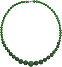 Vifaleno Jade Halskette, natürlicher Jade, grün, Rund, 6-14mm
