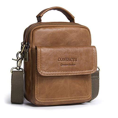 (Contacts Echtes Leder Männer Messenger Crossbody Schultertasche Reise Handtasche (Brown))