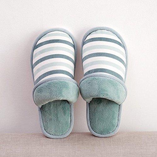 Adulte Femme Hommes Chaud Pantoufles Chaussons Multicouleur Peluche Hiver Anti-Derapant Pantoufles Bleu