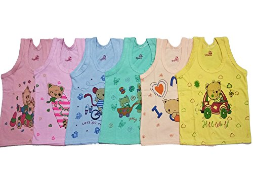 Baby Basic Outfits Baby Inner Wear Unisex, Multi Color, Pack of 6