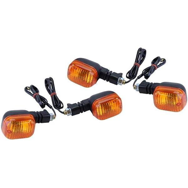 Universal Blinker Set 4 Stück Mit E Nummer Glas Orange Vorne Hinten Yamaha Fzr Xt Fj Xj Tdr Tdm Rd Dt Honda Cb Hornet Suzuki Dr Gs Gsf Rgv Bmw F 650 Auto
