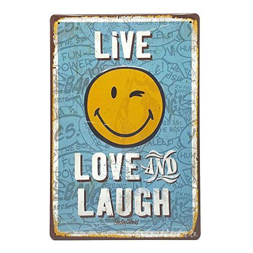 Live Love und Lachen, Retro geprägt Metall blechschild, Wand Deko Schild, 20cm x 30cm