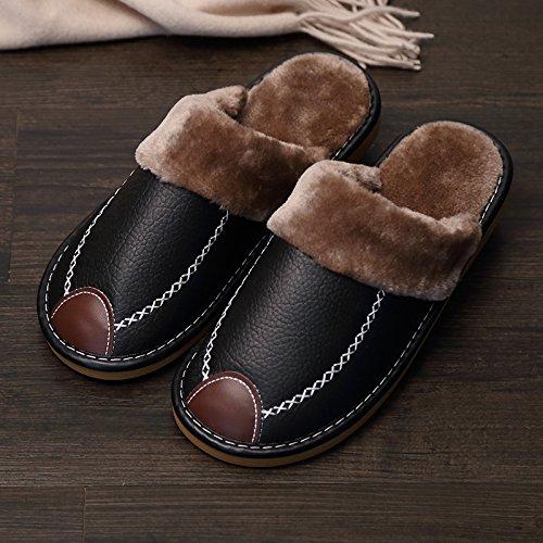 LaxBaLhiver au chaud, lhiver Chaussons Chaussons moelleux accueil chaleureux de lhiver, Maison Chaussons Chaussures antiglisse Brun-noir