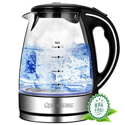 QUEENSENSE Wasserkocher Glas Elektrische Wasserkessel, 1,7L Teekocher mit blaue LED Beleuchtung, 2200W Fast Heating Wasserkocher mit automatische Abschaltung für Überschütztung