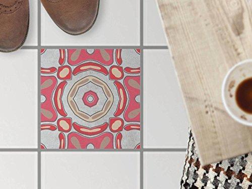 Beige Fliesen-böden Legen (Boden-Fliesen-Muster | Dekorations-Fussboden Fliesensticker Küchenfliesen Bad-Folie Küchengestaltung | 30x30 cm Muster Ornament Strawberry Cheese - 1 Stück)