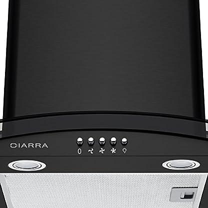 CIARRA Campana Extractora Cocina Cristal 60 cm – 550 m³/h 100W 56dB,3 Velocidades de Extracción, Evacuación al Exterior y Recirculación Interna por Filtro de Carbón CBCF002 – Negro