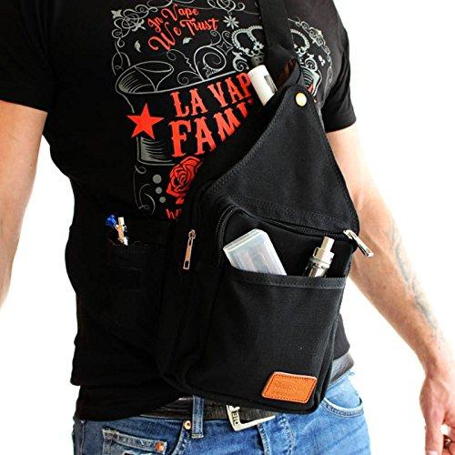 Dampfer Schwarze (Dampfer Rucksack (Slingbag) mit vielen Taschen, Farbe:schwarz)