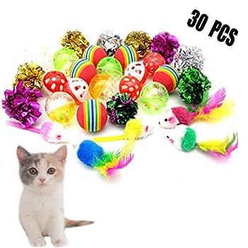 Forwindog Lot de 30 balles pour Chat avec Cloches, Jouets, Boules froissées, Souris, Jouets interactifs pour Chats et Chatons.
