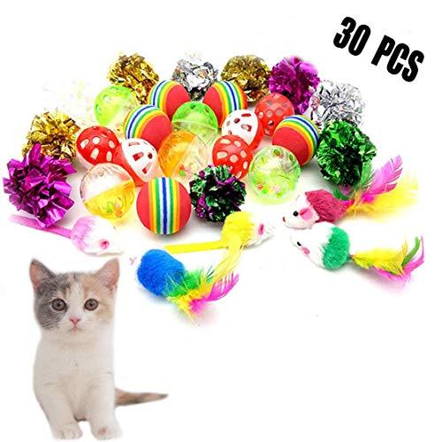 Forwindog 30 Katzenbälle mit Glöckchen, Spielzeug, Knisterbälle, Mäuse, Interaktives Spielzeug für Katzen, Kätzchen.
