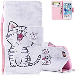 Aeeque Coque iPhone 5S avec Motif Mignonne Rire Chat Étui a Rabat Pochette Housse en Cuir PU Flip Cartes de Crédit Support Antichoc 360 Protection Rigide Cover pour iPhone 5/ iPhone 5S/ iPhone SE