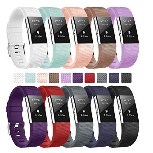 """Fundro Fitbit Charge 2 Armband, Weiches Verstellbare Silikon Sports Ersatz Armbänder für Fitbit Charge2 Klein & Groß Damen & Herren (10-Pack, Large 6.5\""""-9.0\"""")"""
