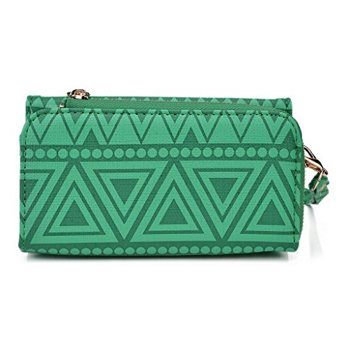 Kroo Pochette/étui style tribal urbain pour Xperia M4 Aqua Multicolore - White and Orange Multicolore - vert