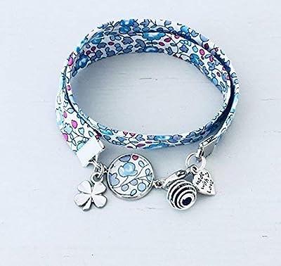 Bracelet Liberty bleu, bijou Liberty, bracelet en tissu liberty, idée cadeau, bracelet parfum, bijou, bracelet fleuri, bijou Liberty