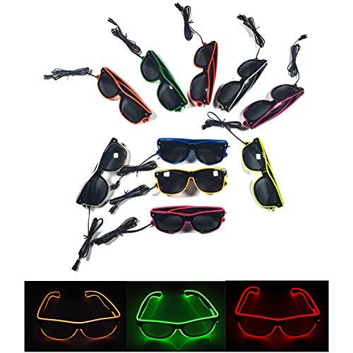 EL Wire, Fashion Neon Cold Light, 10 Gläser (einschließlich 10 Farben), Batteriebetrieben, Mit Controller, Für Tanzparty, Bar, Meeting, Glow Rave-Kostüm, Atmosphäre, DJ Bright Props