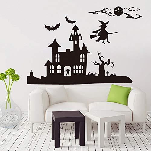58x102 cm Halloween dekoration hexe und burg Art Design home dekoration Vinyl Wand Aufkleber abnehmbar haus dekor (Halloween-hexen Von Symbole)