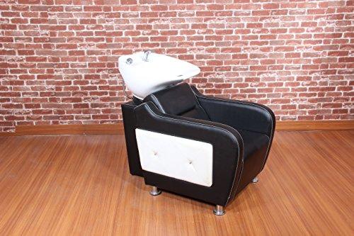 Black & White Backwash Shampoo Washing Unit Chair Salon Hairdressing Equipment Furniture