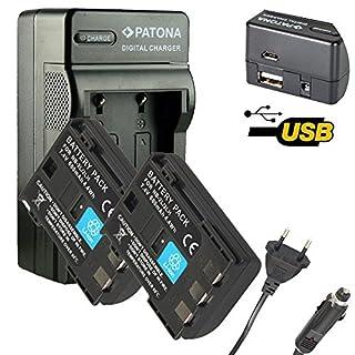 4in1 Ladegerät PATONA + 2x Akku für NB-2L NB-2LH CANON EOS-350D,EOS-400D,DC411,DC420 mit Micro-USB Anschluss