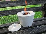 Doppelwandige Keramik-Feuerschale für Bio-Ethanol mit Hinterlüftung und Deckel zum Löschen der Flamme, Tischfeuer, Gartenfeuer, Gartenfackel, Gartenlicht, ca. 20 x 21 cm, mit 500 ml Brenndose